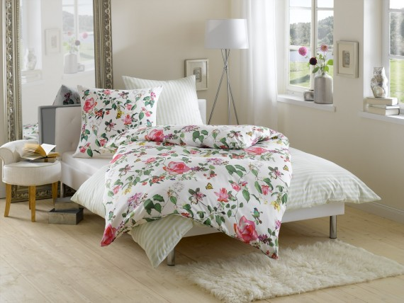 Mako Satin Blumen Bettwäsche Mit Vögeln Und Schmetterlingen Weiß
