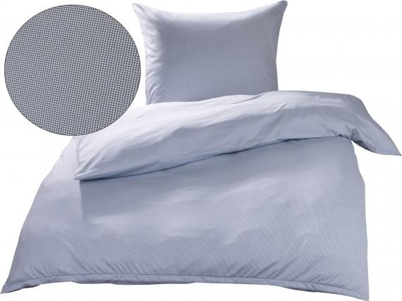 Bettwaesche-mit-Stil Mako Interlock Jersey Bettwäsche Pepita blau / weiß
