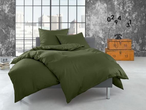 Bettwaesche-mit-Stil Flanell Bettwäsche uni / einfarbig dunkelgrün (oliv)