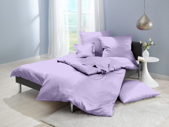 Lorena Mako Satin Bettwäsche uni Classic Lavendel Lila