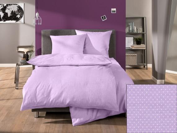Lorena Mako-Satin buntgewebte Bettwäsche Dots Punkte-Muster lila