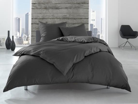 Bettwaesche-mit-Stil Linon 100% Baumwolle Hotelbettwäsche Lia mit Reißverschluss uni anthrazit einfarbig