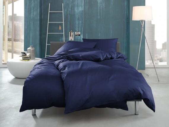 """Bettwaesche-mit-Stil Mako Interlock Jersey Bettwäsche """"Ina"""" uni/einfarbig dunkelblau"""
