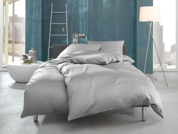 """Bettwaesche-mit-Stil Mako Interlock Jersey Bettwäsche """"Ina"""" uni/einfarbig grau"""