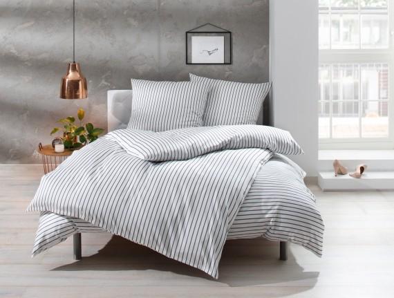 """Bettwaesche-mit-Stil Mako Satin Streifen Bettwäsche """"Den Haag"""" grau weiß gestreift"""
