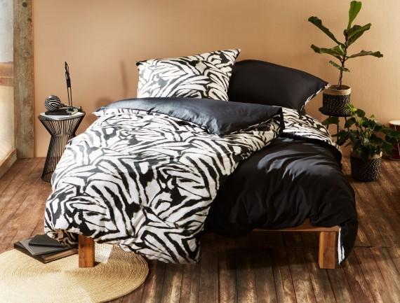 Mako Satin Wendebettwäsche Zebra schwarz weiß von Bettwäsche-mit-Stil
