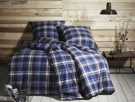 Flanell Bettwäsche kariert blau weiß von Bettwäsche-mit-Stil