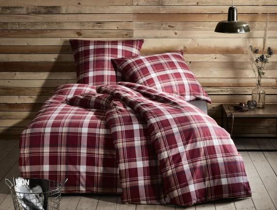 Flanell Bettwäsche kariert rot weiß von Bettwäsche-mit-Stil