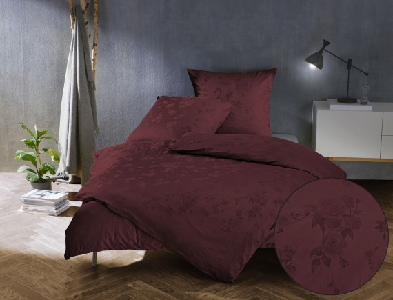 Bettwaesche-mit-Stil Mako Satin Jacquard Damast Bettwäsche Zoé Rose – bordeaux rot