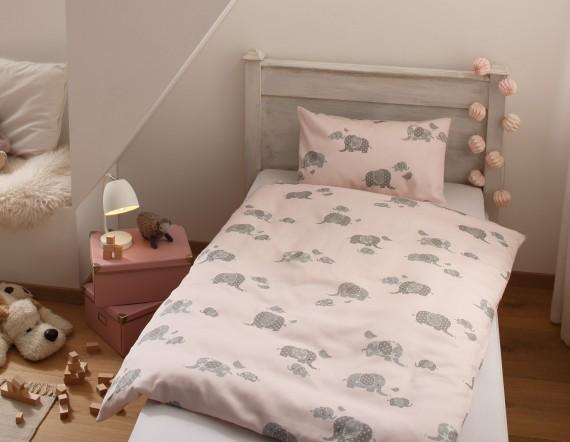 Mako Satin Mädchen Bettwäsche Elefanten 100x135 Rosa Ausschnitt