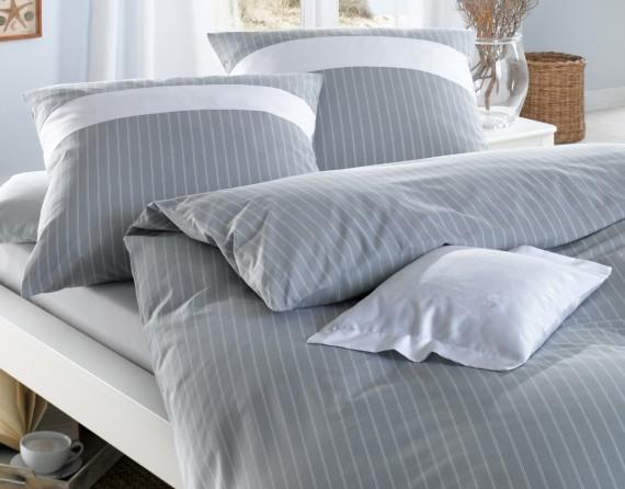 Maritime Mako Perkal Streifen Bettwäsche mit Einsatz grau weiß