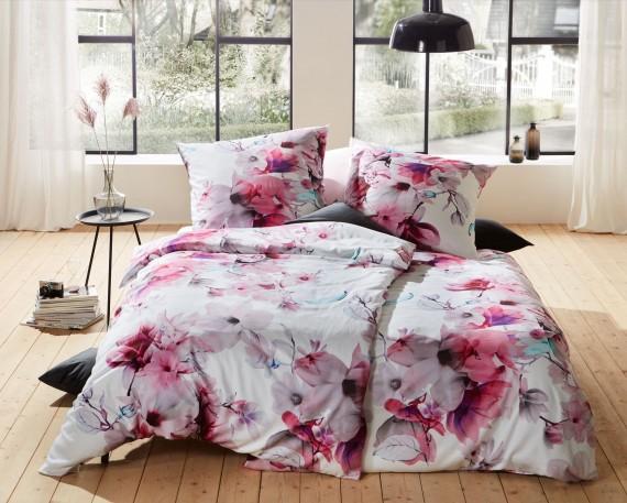 Mako Satin Blumen Bettwäsche Magnolie rosa türkis 100% Baumwolle
