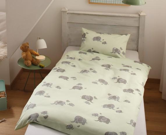 Mako Satin Mädchen Bettwäsche Elefanten 100x135 Grün