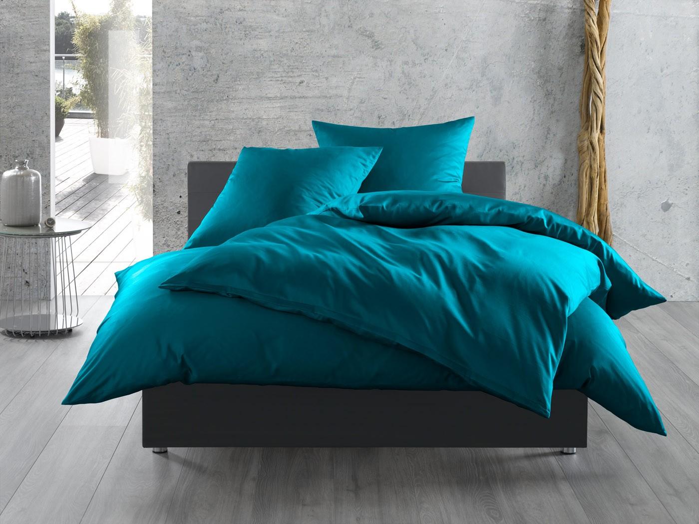 Einfarbige Bettwäsche 155x200 Petrolblau Bettwaesche Mit Stil