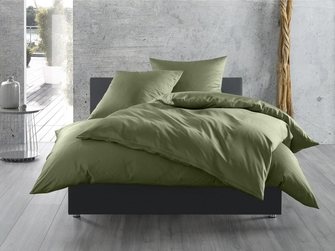 Einfarbige Mako Satin Bettwäsche 155x200 In Khaki Bei