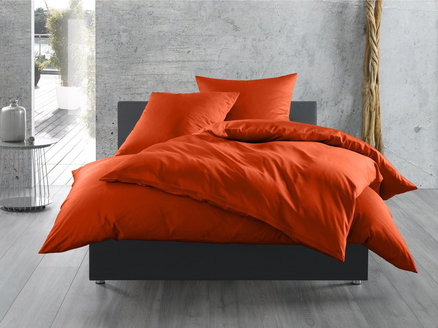 mako satin bettw sche uni einfarbig orange online kaufen. Black Bedroom Furniture Sets. Home Design Ideas