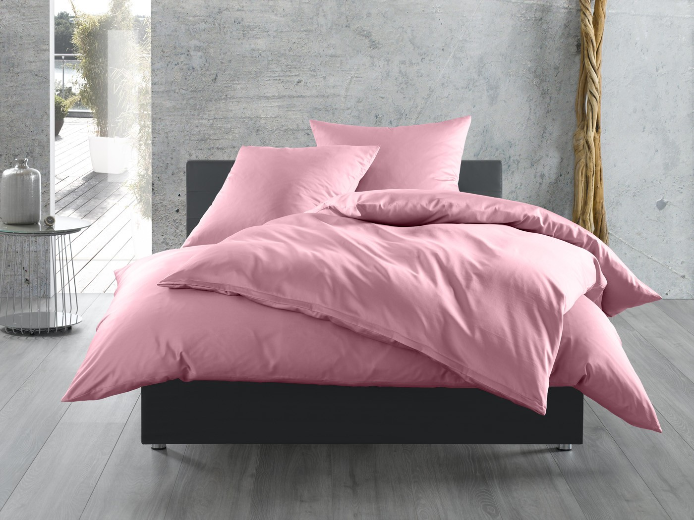 einfarbige bettw sche in rosa bettwaesche mit stil. Black Bedroom Furniture Sets. Home Design Ideas