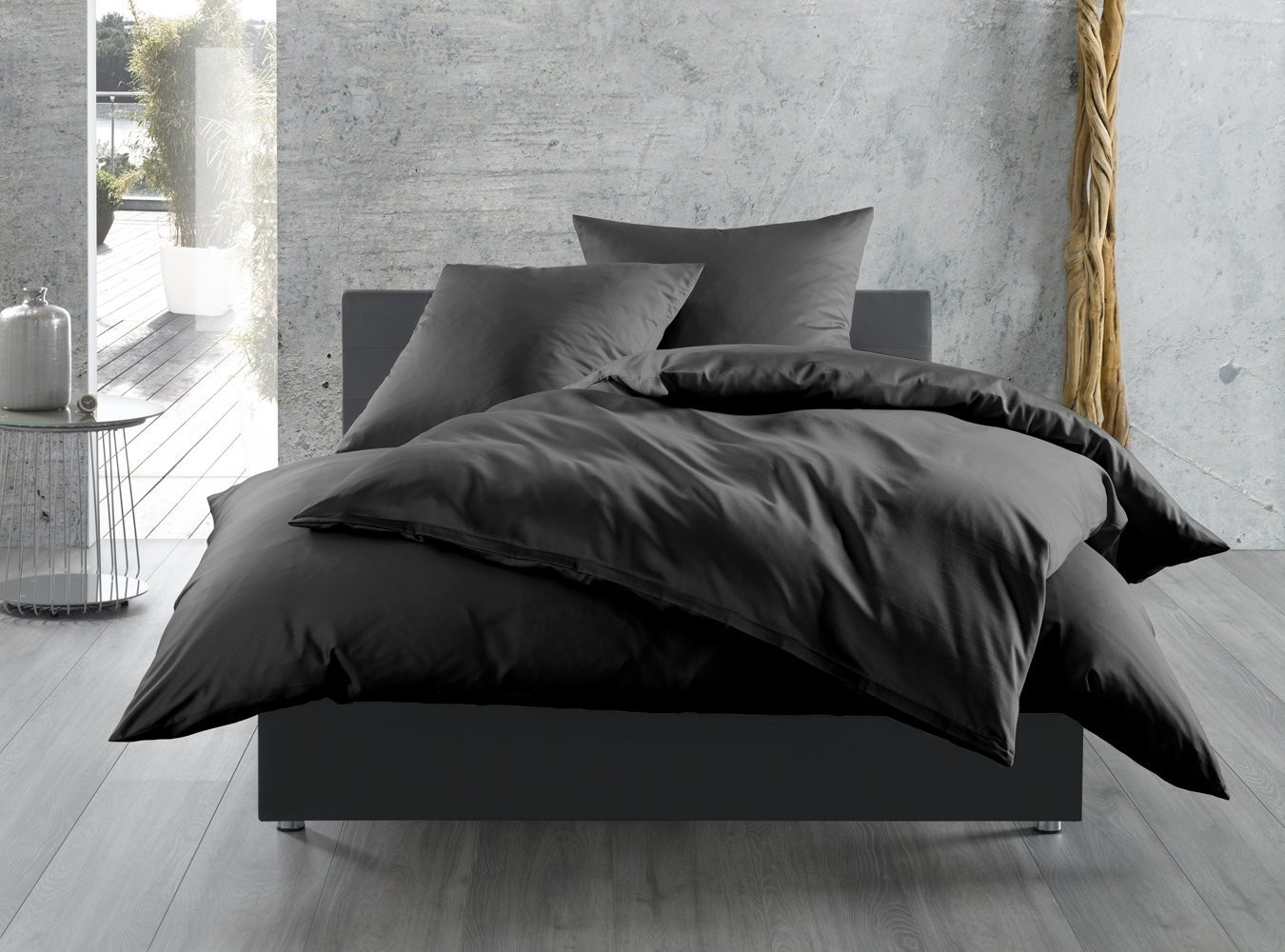 mako satin bettw sche uni einfarbig schwarz online kaufen bms. Black Bedroom Furniture Sets. Home Design Ideas