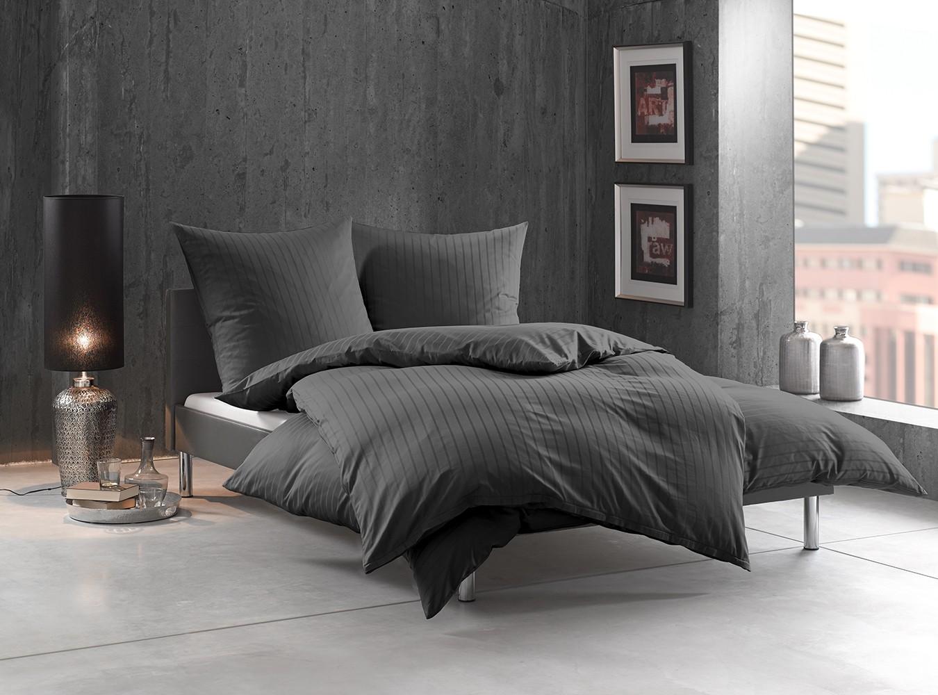 damast mako satin kissenbezug streifen uni anthrazit. Black Bedroom Furniture Sets. Home Design Ideas