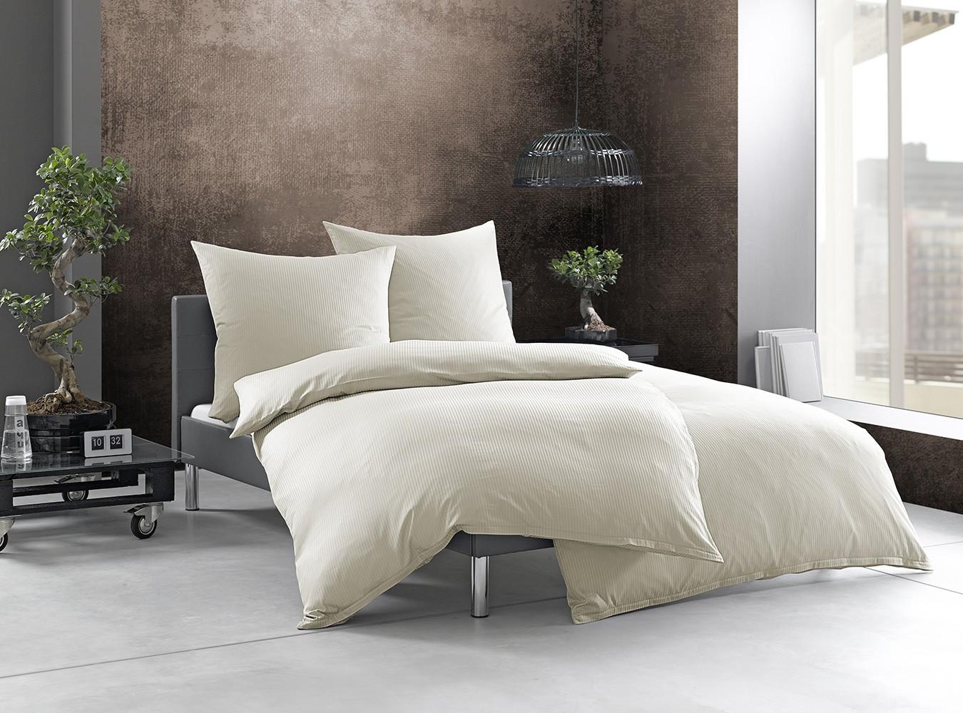 gestreifte bettw sche natur bettwaesche mit stil. Black Bedroom Furniture Sets. Home Design Ideas