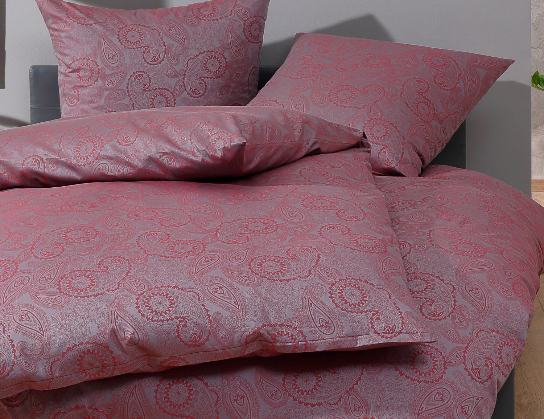 bettwaesche mit stil mako satin damast paisley bettwsche davos rot grau - Bettwasche Paisley Muster
