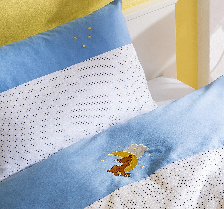 Mako-Satin Kinder Bettwäsche Bär 100x135 + 40x60 blau