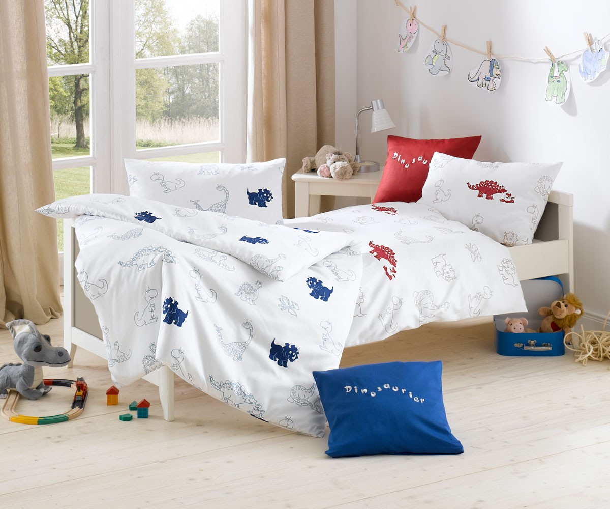 lorena kinder bettw sche dinosaurier mako satin blau garnitur 100x135 cm online kaufen bms. Black Bedroom Furniture Sets. Home Design Ideas