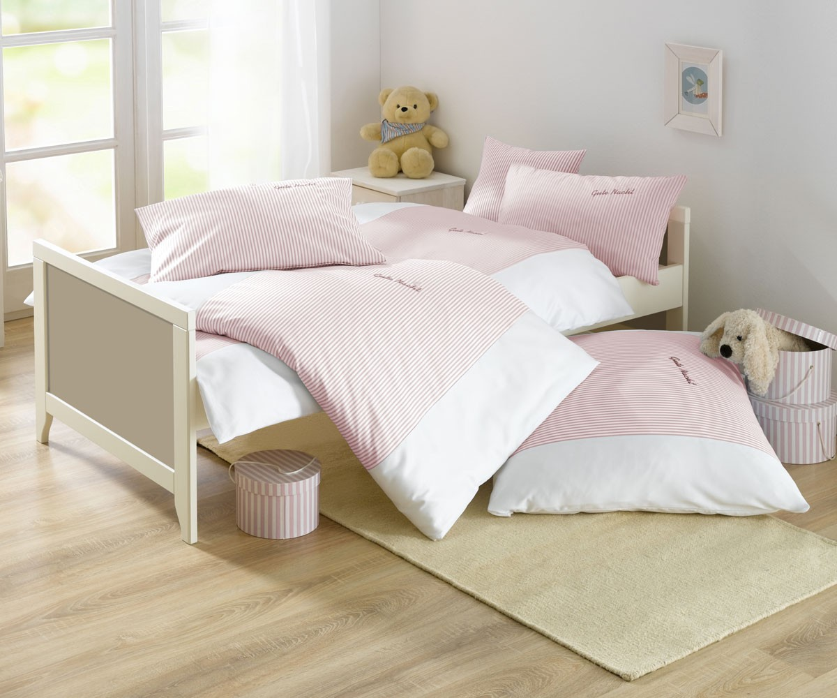 lorena streifen kinder bettw sche gute nacht mako batist rosa online kaufen bms. Black Bedroom Furniture Sets. Home Design Ideas