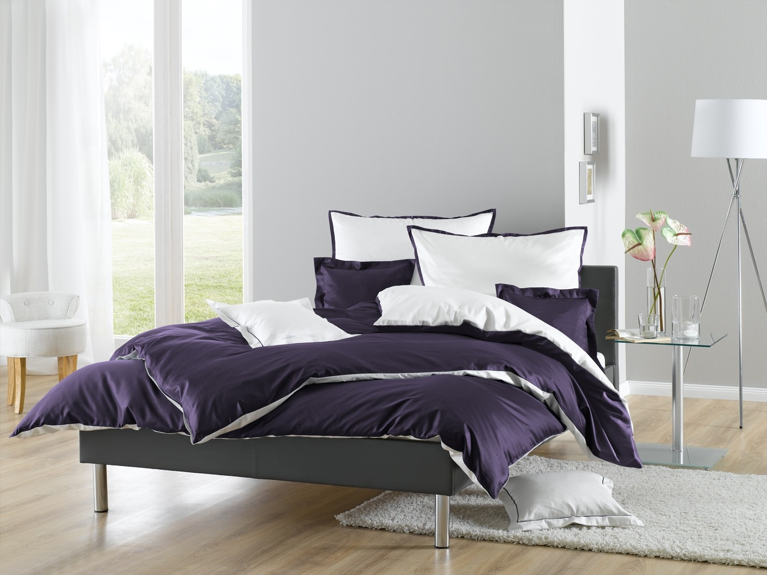 lorena wendebettw sche juliet mako satin malve kaufen bms. Black Bedroom Furniture Sets. Home Design Ideas
