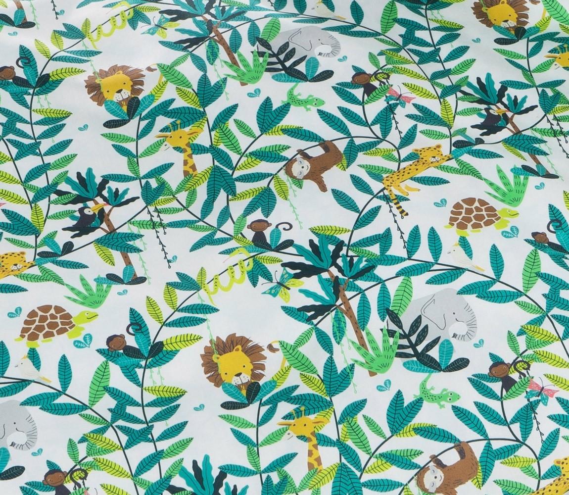 Mako Satin Kinder Bettwäsche Dschungel Grün