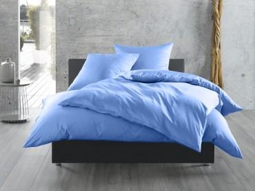 Bettwäsche hellblau uni Mako Satin von Bettwaesche-mit-Stil