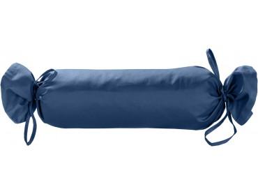 Mako Satin / Baumwollsatin Nackenrollen Bezug uni / einfarbig Jeans Blau 15x40 cm mit Bändern