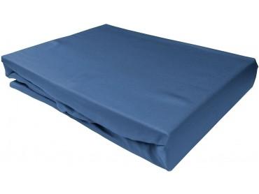 Bettwaesche-mit-Stil Mako-Satin Spannbettlaken Jeans Blau