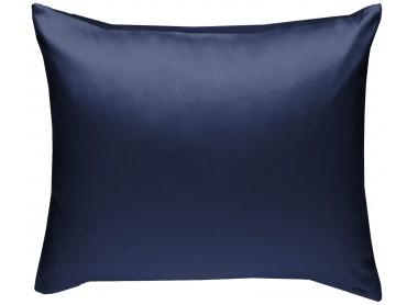 Mako Satin Kissenbezug uni dunkelblau - viele Größen