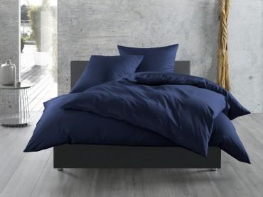 Bettwaesche-mit-Stil Mako-Satin / Baumwollsatin Bettwäsche uni / einfarbig dunkelblau
