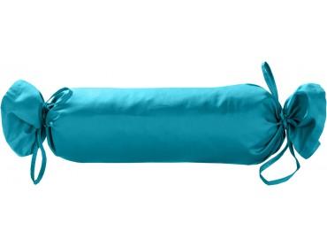 Mako Satin / Baumwollsatin Nackenrollen Bezug uni / einfarbig türkis 15x40 cm mit Bändern