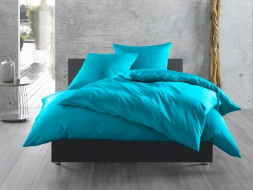 Bettwaesche-mit-Stil Mako-Satin / Baumwollsatin Bettwäsche uni / einfarbig türkis