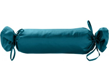 Mako Satin / Baumwollsatin Nackenrollen Bezug uni / einfarbig petrol blau 15x40 cm mit Bändern