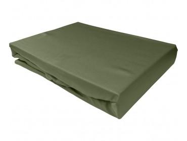 Bettwaesche-mit-Stil Mako-Satin Spannbettlaken dunkelgrün