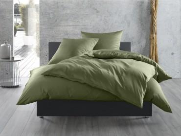 Bettwäsche dunkelgrün Mako Satin uni / einfarbig von Bettwaesche-mit-Stil