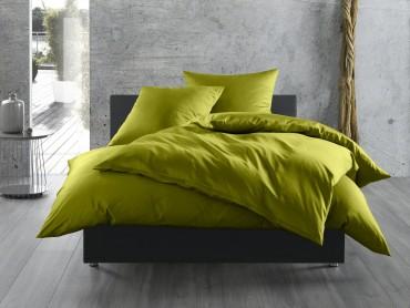 Bettwaesche-mit-Stil Mako-Satin / Baumwollsatin Bettwäsche uni / einfarbig grün