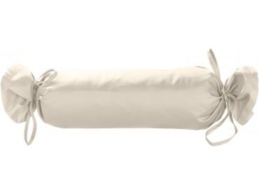 Mako Satin / Baumwollsatin Nackenrollen Bezug uni / einfarbig natur 15x40 cm mit Bändern