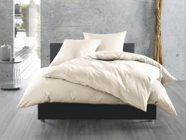 Mako Satin Bettwäsche 155x200 cm uni / einfarbig natur