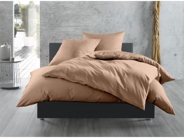 Mako Satin Bettwäsche 155x200 cm uni / einfarbig hellbraun