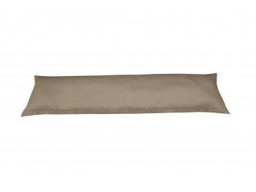 Mako-Satin Seitenschläferkissen Bezug uni / einfarbig braun (kiesel) 40x145 cm von Bettwaesche-mit-Stil