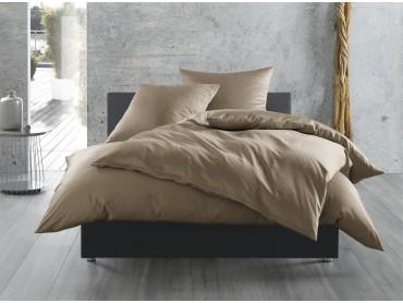 Mako Satin Bettwäsche uni / einfarbig braun (taupe)