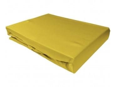 Bettwaesche-mit-Stil Mako-Satin Spannbettlaken gelb