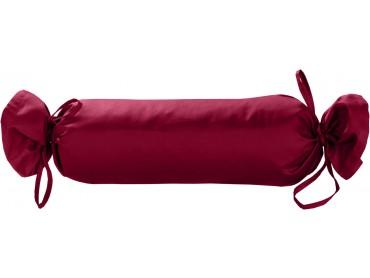 Mako Satin / Baumwollsatin Nackenrollen Bezug uni / einfarbig pink 15x40 cm mit Bändern