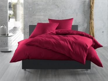 Bettwaesche-mit-Stil Mako-Satin / Baumwollsatin Bettwäsche uni / einfarbig pink