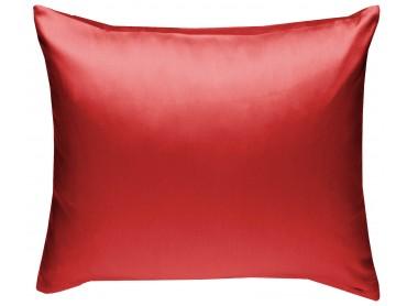 Mako Satin Kissenbezug uni rot - viele Größen